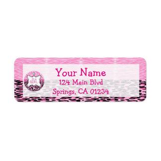 Pink Zebra,Leopard Girl Baby Shower Address Labels