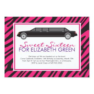 Pink Zebra Limosine Invitations