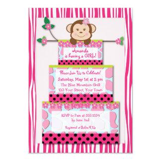Pink Zebra Monkey Cake Baby Shower Invitation