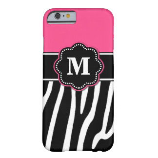 Pink Zebra Monogram Phone Case Barely There iPhone 6 Case