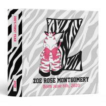 """Pink Zebra Monogram """"Z"""" Baby Scrapbook Binders"""