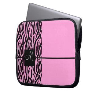 Pink Zebra-Monogrammed Laptop Computer Sleeve