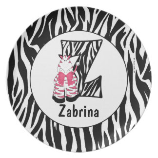 "Pink Zebra Monogrammed ""Z"" Kid's Plate"