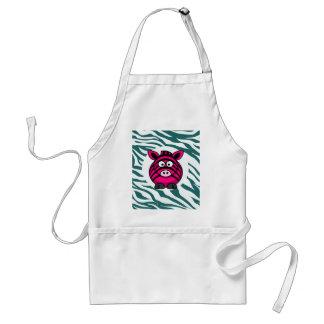 Pink Zebra on Aqua Teal Zebra Print Zoo Pattern Aprons