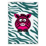Pink Zebra on Aqua Teal Zebra Print Zoo Pattern Greeting Card