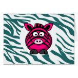 Pink Zebra on Aqua Teal Zebra Print Zoo Pattern Greeting Cards