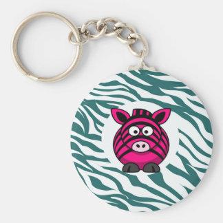 Pink Zebra on Aqua Teal Zebra Print Zoo Pattern Keychains
