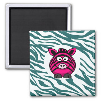 Pink Zebra on Aqua Teal Zebra Print Zoo Pattern Magnet