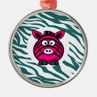 Pink Zebra on Aqua Teal Zebra Print Zoo Pattern Metal Ornament