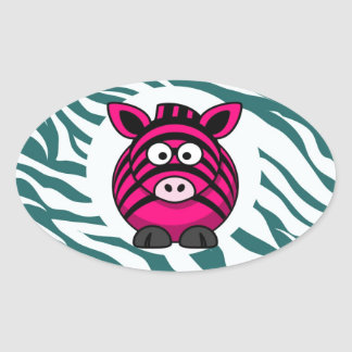 Pink Zebra on Aqua Teal Zebra Print Zoo Pattern Oval Sticker