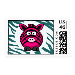 Pink Zebra on Aqua Teal Zebra Print Zoo Pattern Stamps