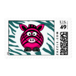 Pink Zebra on Aqua Teal Zebra Print Zoo Pattern Stamps