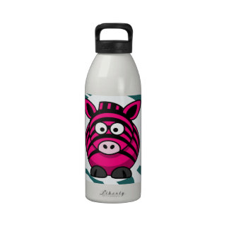 Pink Zebra on Aqua Teal Zebra Print Zoo Pattern Water Bottles