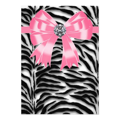 Pink Zebra Party Invitation Template