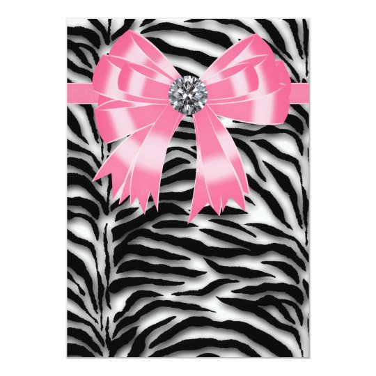 leopard print invitations templates - pink zebra party invitation template