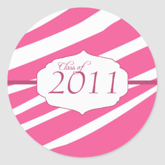 Pink zebra pattern graduation class of stickers