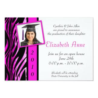 "Pink Zebra Pattern Photo 5"" X 7"" Invitation Card"