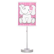 Pink Zebra Pattern Sassy Elephant Nursery Lamp