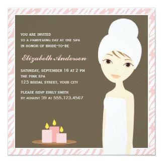 Pink Zebra Pattern Spa Bridal Shower Card