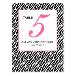 Pink Zebra Pattern Wedding Table Number Card Postcard
