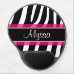 "Pink Zebra Personalized Gel Mouse Pad<br><div class=""desc"">Show off your personal style in  a fun way with this black and white zebra print with pink accent personalized mousepad.</div>"