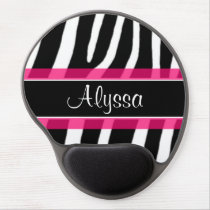 Pink Zebra Personalized Gel Mouse Pad