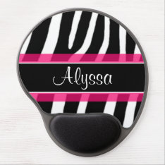 Pink Zebra Personalized Gel Mouse Pad at Zazzle