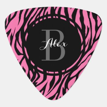Pink Zebra Personalized Guitar Pick by reflections06 at Zazzle