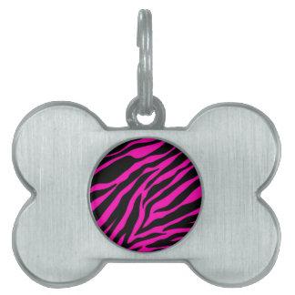 pink zebra pet name tag