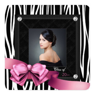 Pink Zebra Photo Graduation Announcements