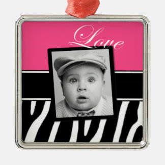 Pink Zebra Photo Ornament