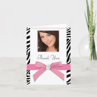 Pink Zebra Photo Thank You Cards card