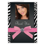 Pink Zebra Photo Thank You Cards Note Card