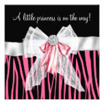 Pink Zebra Pink Black Princess Baby Shower Custom Invite