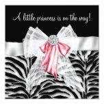 Pink Zebra Pink Black Princess Baby Shower Custom Invite