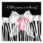 Pink Zebra Pink Black Princess Baby Shower Custom Invitations