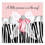 Pink Zebra Pink Black Princess Baby Shower Invite