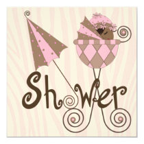 Pink Zebra Pink Brown Baby Girl Shower 5.25x5.25 Square Paper Invitation Card