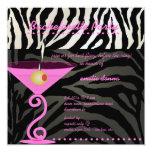 Pink Zebra/pink martini Bachelorette Party Personalized Announcement