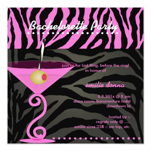 Pink Zebra/pink martini Bachelorette Party Personalized Announcements