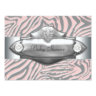 Pink Zebra Pink Zebra Baby Girl Shower Invites