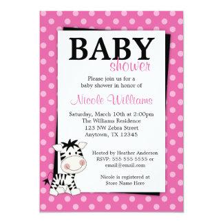 Pink Zebra Polka Dot Baby Shower Invitations