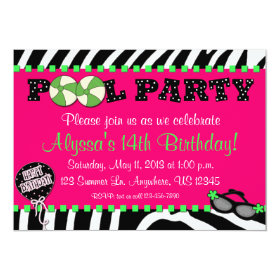 Pink Zebra Pool Party Birthday Invitation 5