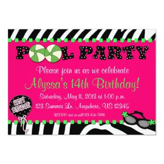 "Pink Zebra Pool Party Birthday Invitation 5"" X 7"" Invitation Card"