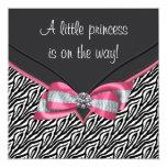 Pink Zebra Princess Baby Shower 5.25x5.25 Square Paper Invitation Card