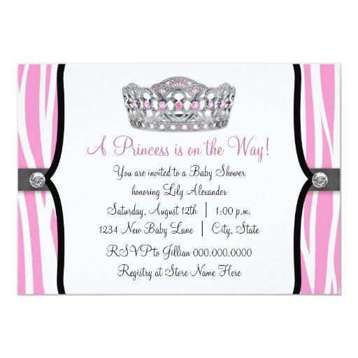 Pink Zebra Princess Pink Black Baby Shower 5x7 Paper Invitation Card