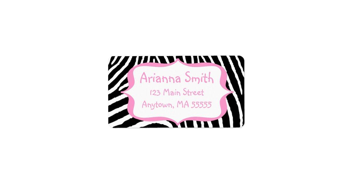 Pink Zebra Print Address Labels | Zazzle