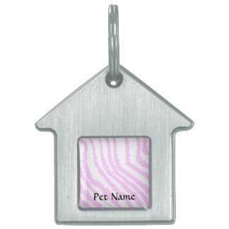 Pink Zebra Print, Animal Pattern. Pet Tag
