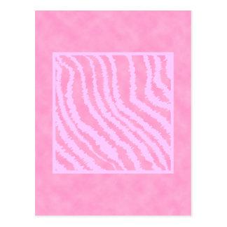 Pink Zebra Print, Animal Pattern. Post Card