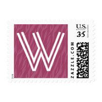 Pink Zebra Print Any Initial Wedding Monogram Postage